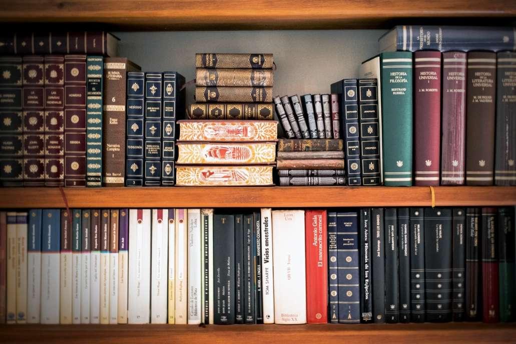 hardcover books sitting on bookshelf