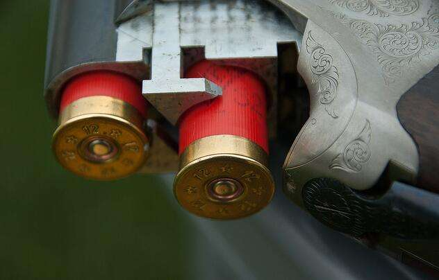 two red and gold bullets in the barrel of a silver gun